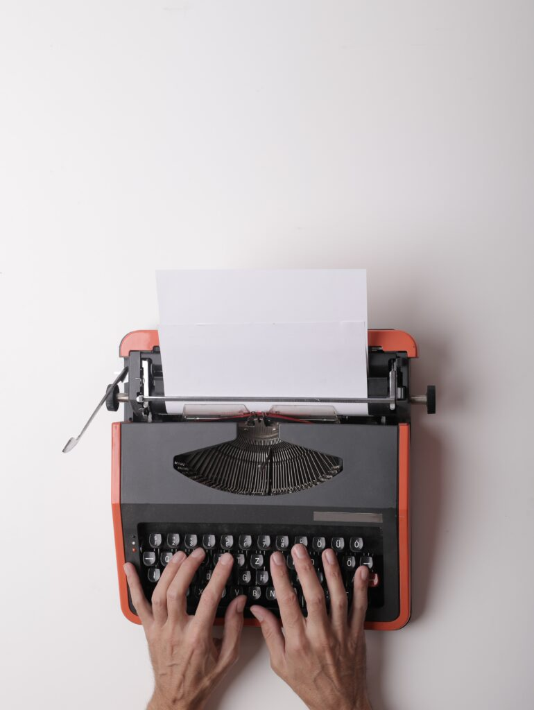 tackle writers block; a type writer